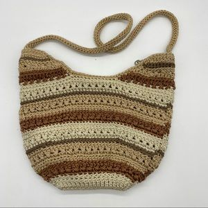 The Sak Mini Crochet Stripe Earth Tones Bag